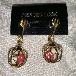 Lucky Dice In A Cage Clip On  Earrings Vintage